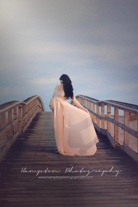 ジェミードレス●マルチレイヤーシフォンのオンブルマタニティドレス