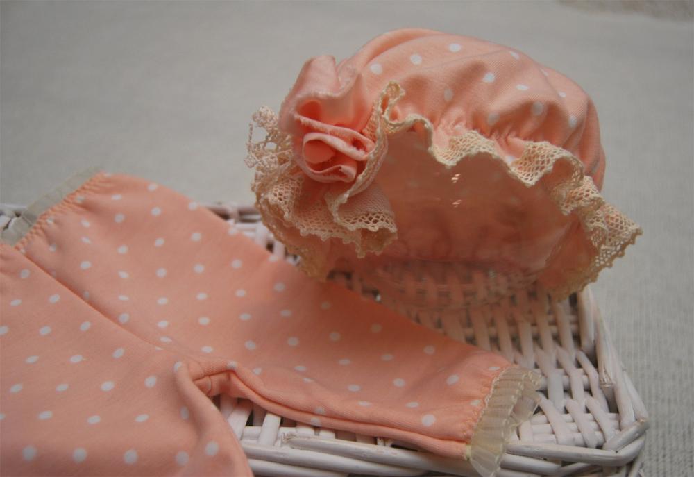 Newbornドレス☆レースと水玉のキャップ&パンツセット ピーチ