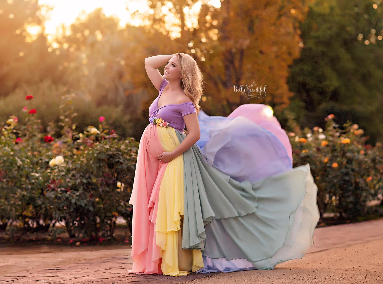 ホープドレス[パステル]●レインボーカラーのマルチレイヤーシフォンドレス