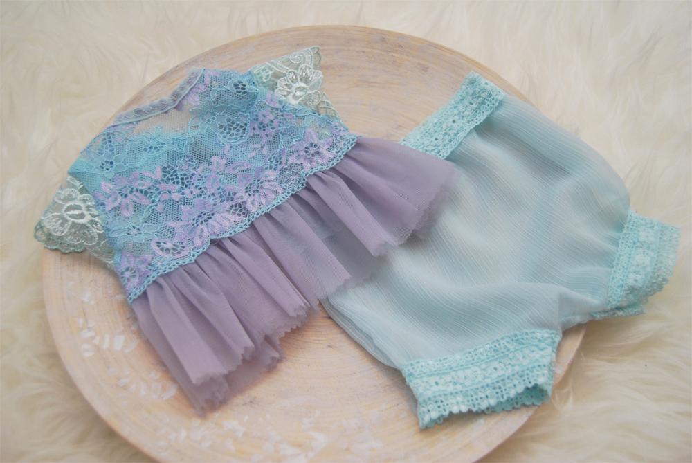 Newbornドレス☆お花が咲いたようなレースの上下セット ラベンダー