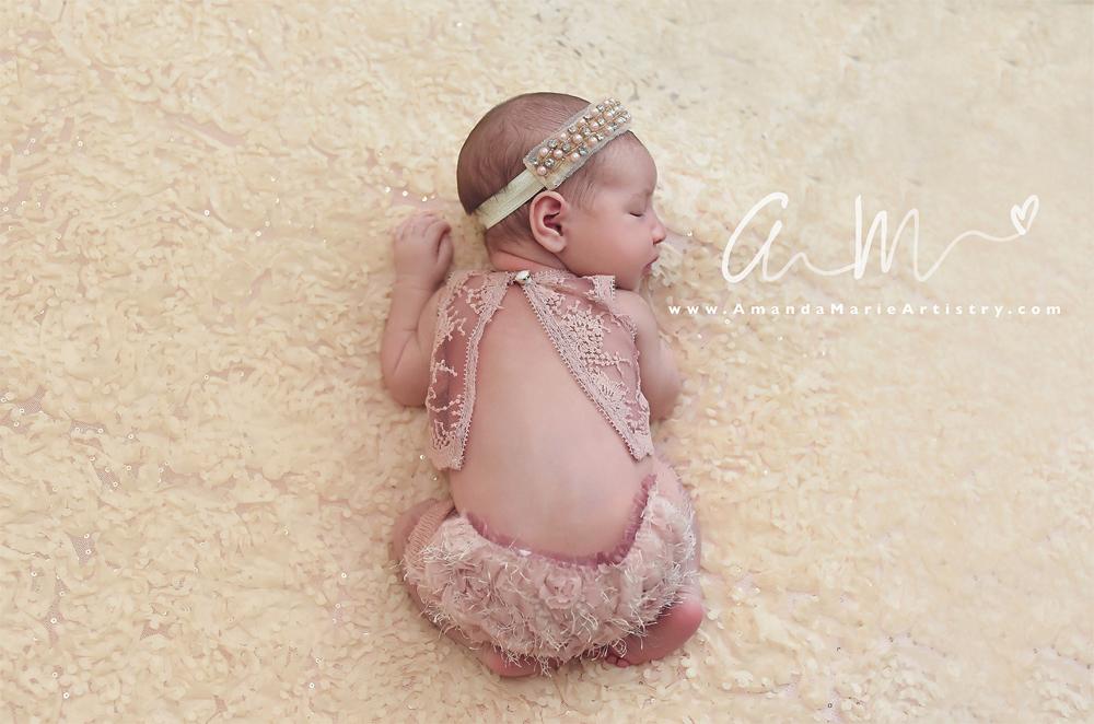 Newbornドレス☆繊細なレースの上下セット ダスティピンク