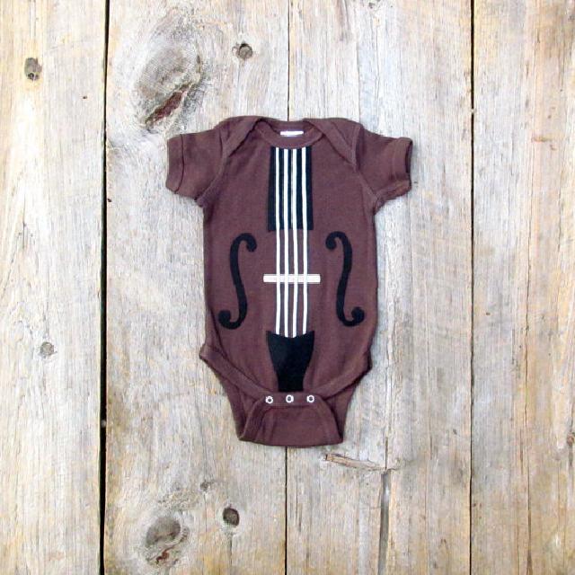 バイオリン柄ロンパース♪可愛いくておもしろい海外デザイン♪ Newborn-24months