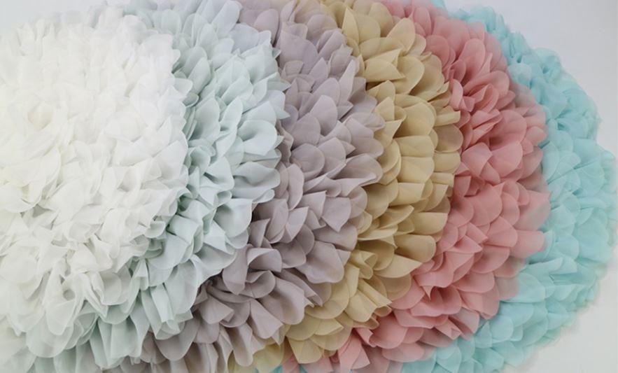 ソフトシフォンのフラワースタッファー ベビーがお花のなかにいるようなサークルマット6色