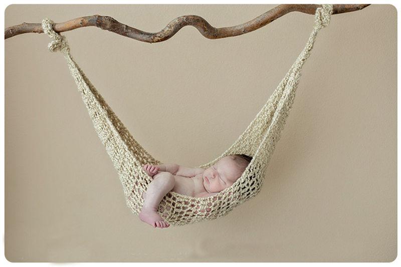 かぎ針編みのハンモック♪ナチュラルなカーキ Newborn-6Months Baby