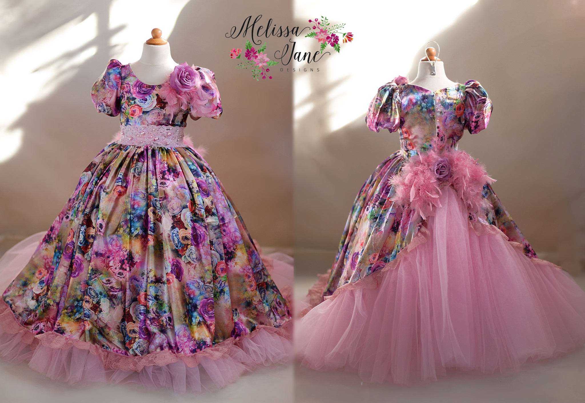 後姿華やかな花のドレス「Back Bustle Floral Couture Girls Dress」 2歳から12歳
