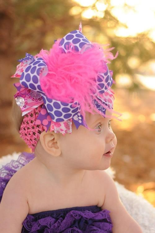 派手カワヘアバンド!ダークパープル&ホットピンクとふわふわファーのクリップピン付ヘアバンド