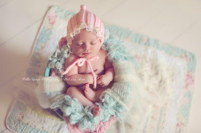 赤ちゃんにはこれでしょ!というザ・ベビーな帽子。ピンク