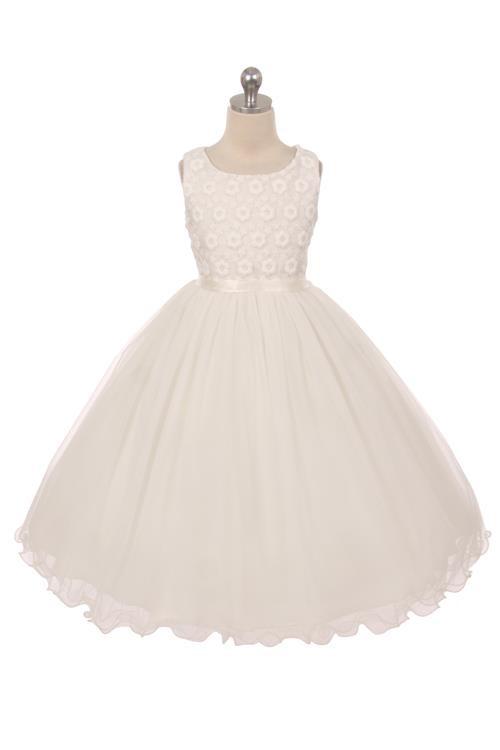 シンプルコレクション~花刺繍のチュールドレス「Simple Collection Flower Embroidered Girls Tulle Dress」2歳から14歳