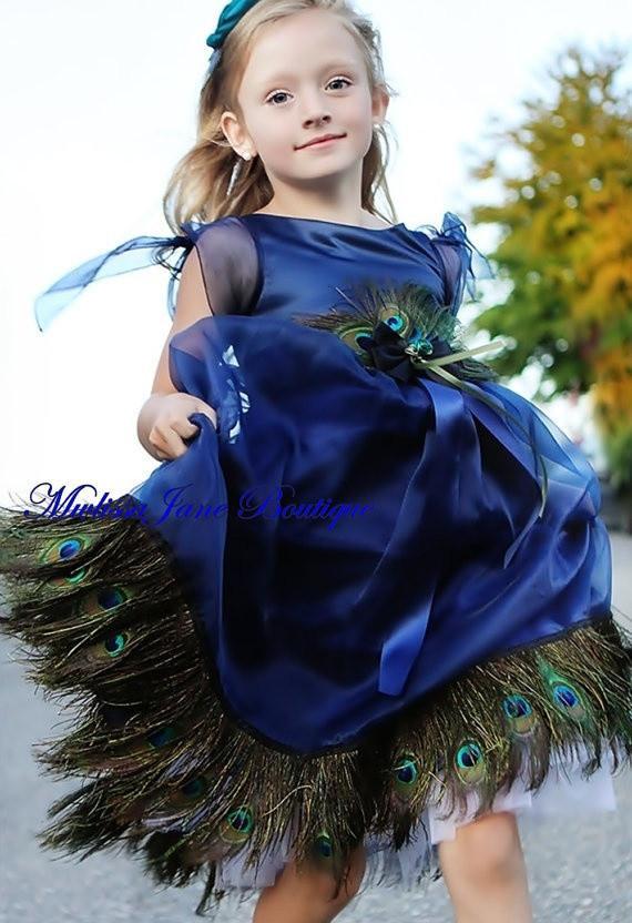 青の孔雀のドレス「Girls Peacock Dress in Blue」1歳から14歳