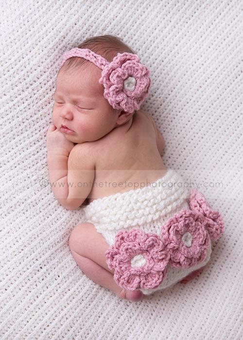 新生児赤ちゃんのあったかおむつカバー&帽子(ヘアバンド)セット