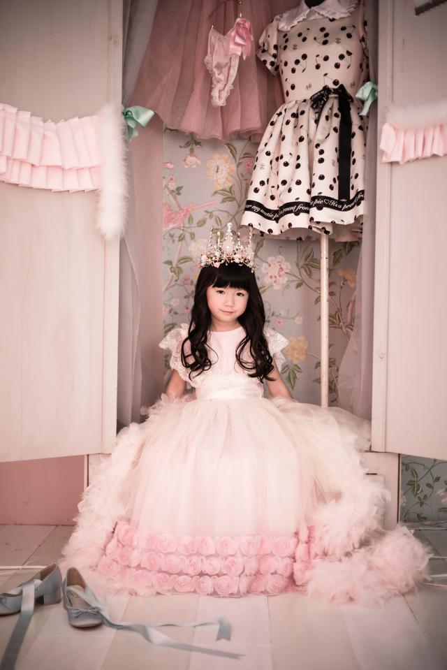 レンタルドレス「Lino」110-120サイズ ピンクフェザードレス 110-120サイズ【2泊3日レンタル往復送料無料】