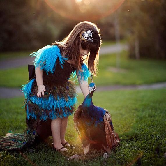 孔雀の情熱「Peacock Passion Girls Dress」1歳から6歳