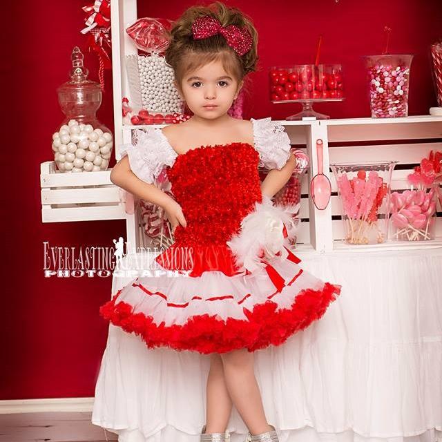 赤い夢の輝き〜ペチコートドレス「Red Dazzle Dreams Pettiskirt Dress」1歳から4歳