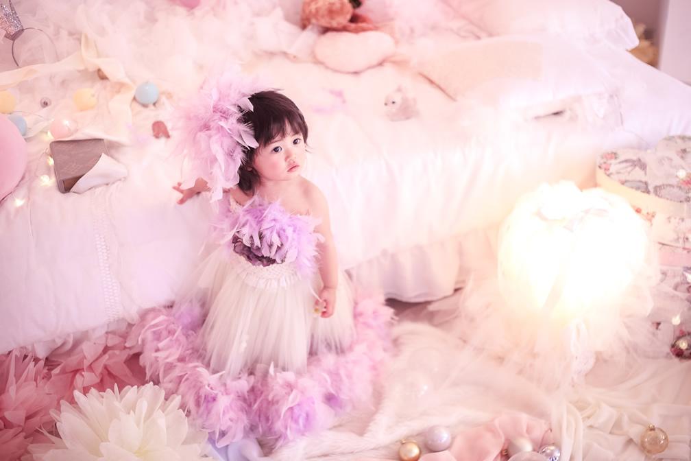 レンタルドレス「ASUNA」 70-90サイズ ラベンダーのフェザーたっぷりオフショルドレス