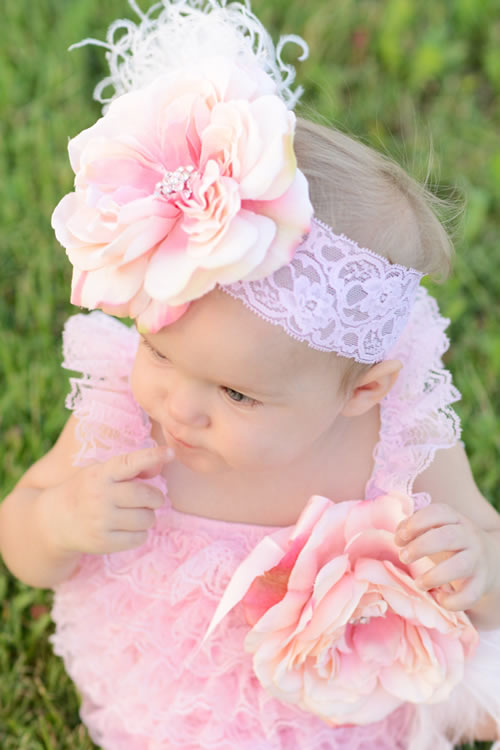 美ロンパース&フラワーファーレースヘッドドレス&レッグフラワーバンド☆ベビーピンクカラー♪