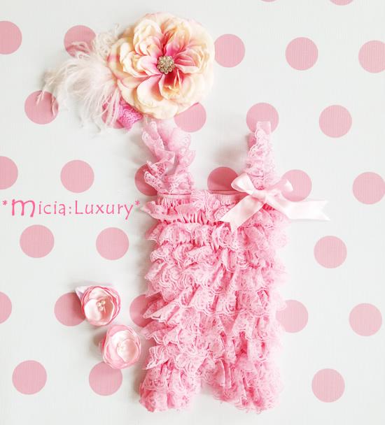 レンタルドレス 美ロンパース&フラワーファーレースヘッドドレス&レッグフラワーバンド☆ベビーピンクカラー♪