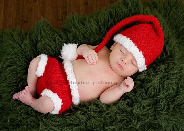 スリーピングフォト ラブリーベビークリスマスサンタ帽子