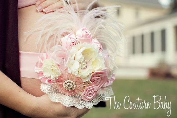 美しいマタニティーママと生まれてくるベビーをリボンでつなぐ素敵な母子の絆☆マタニティー&ベビーサッシュリボン☆ピンク