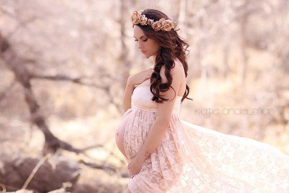 マタニティドレス&花冠セットコーデ♪フロントスプリットドレス「ジェニファー」