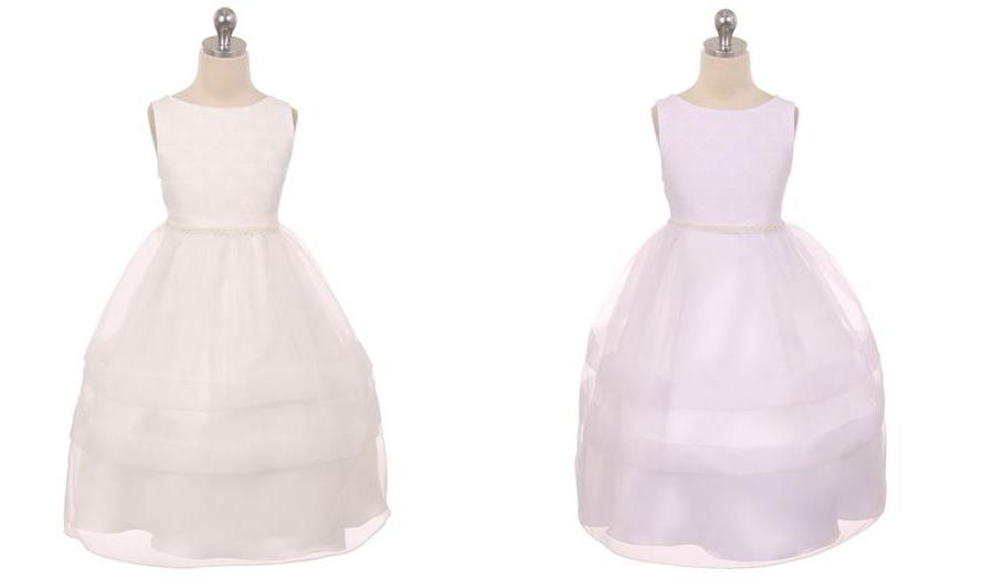 シンプルコレクション〜女の子の聖餐式ドレス「Simple Collection Fan Design Girls Communion Dress」2歳から12歳