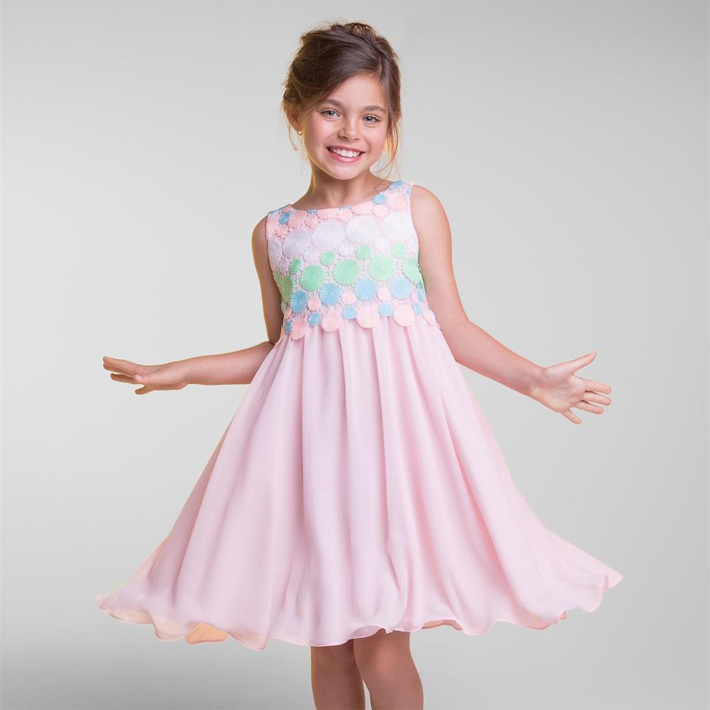 シンプルでかわいい円刺繍のシフォンドレス「Simple Cute Circle Embroidery Chiffon Dress」2歳から12歳