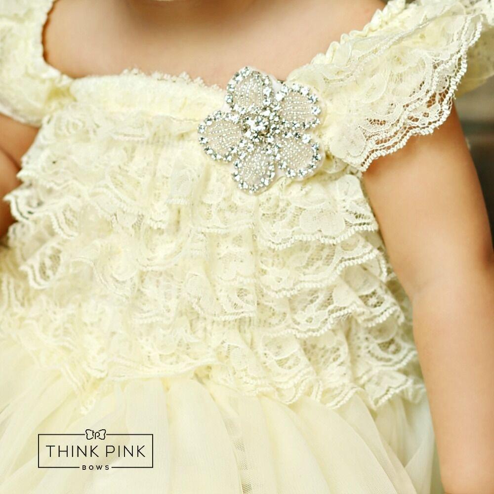 ナチュラルワンピース ハートロブペチレースドレス  お花のラインストーン付き newborn-7years