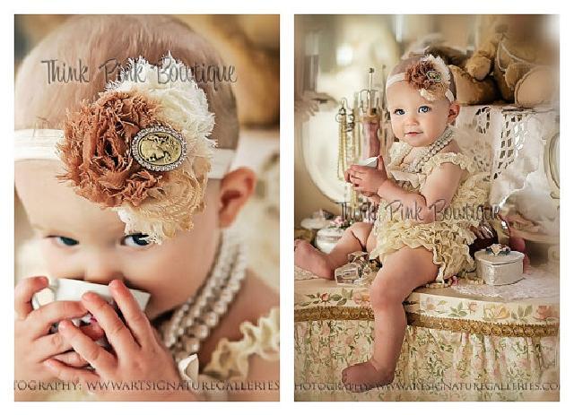 ♪ロンパース&ヴィンテージヘッドドレス☆クリームカラー newborn-4T【2点セット♪】