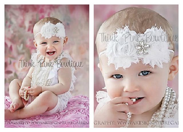 ♪ロンパース&ヴィンテージヘッドドレス☆ホワイト newborn-4T【2点セット♪】