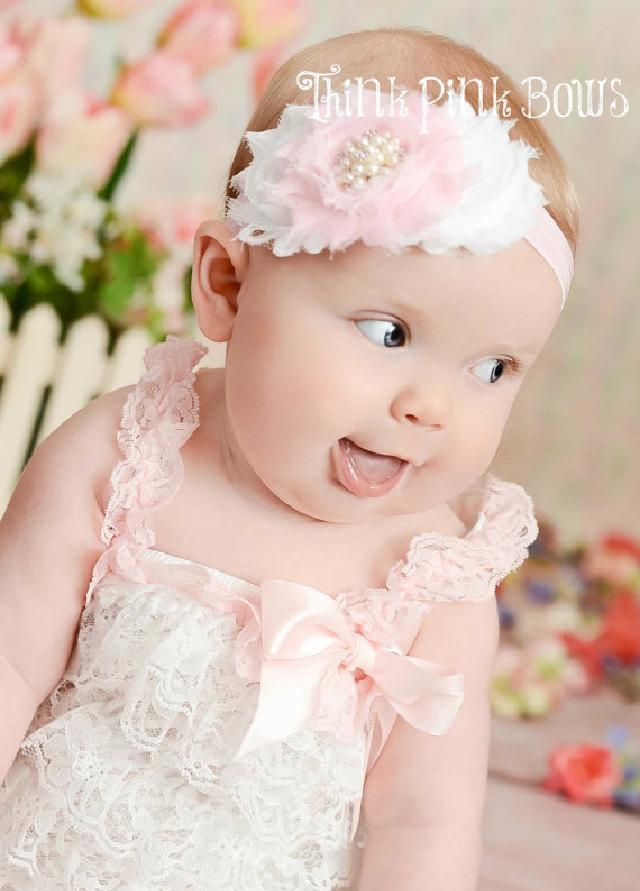 ♪肩ひもショルダー&リボン付ソフトロンパース newborn-4T☆ピンク&ホワイト♪