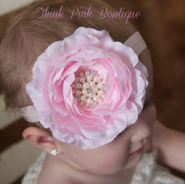 ☆きれい色♪お花とラインストーンのヘアバンド☆ピンク