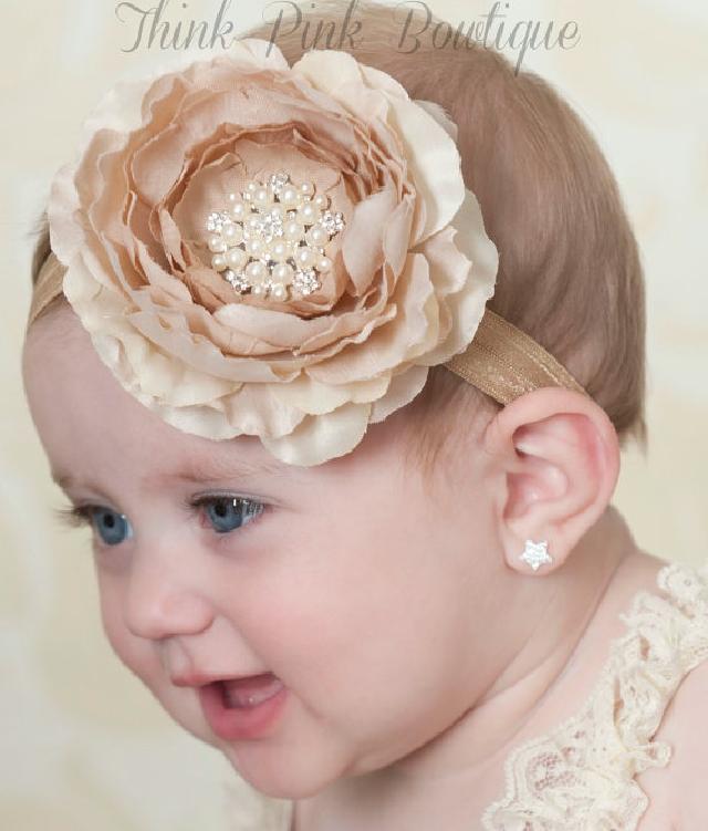 ☆きれい色♪お花とラインストーンのヘアバンド☆クリーム