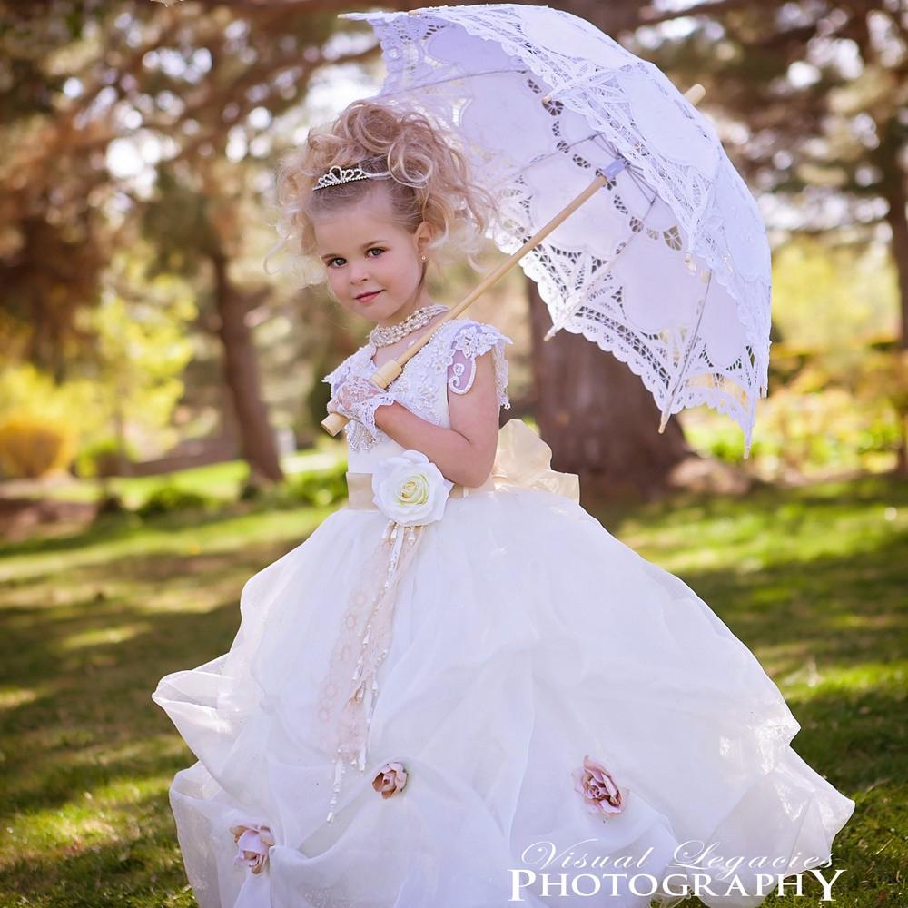 幻想的で上品なバブルドレス「Whimsical ClassyPickupBubbleFlowerGirlDress」1歳から14歳