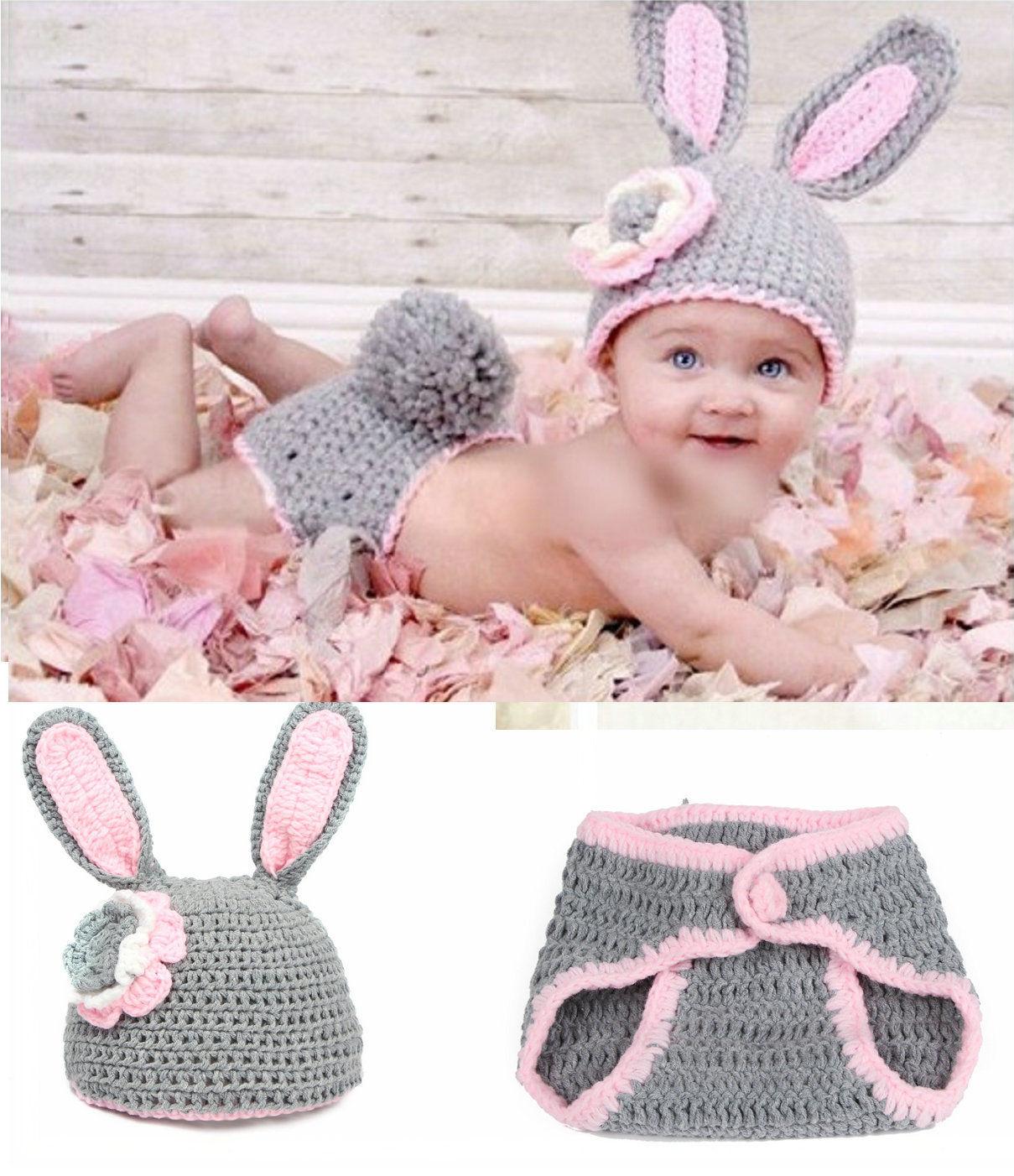 うさぎに変身★かぎ針編みのうさちゃん帽子&しっぽ付きブルマのセット Newborn-6months